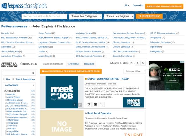 La rubrique emploi du site de petites annonces mauricien Lexpressclassified.mu