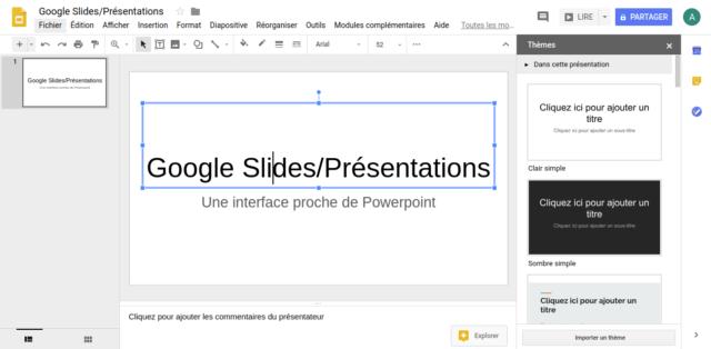 Google Slides est un logiciel de présentation en ligne qui possède une interface étrangement familière