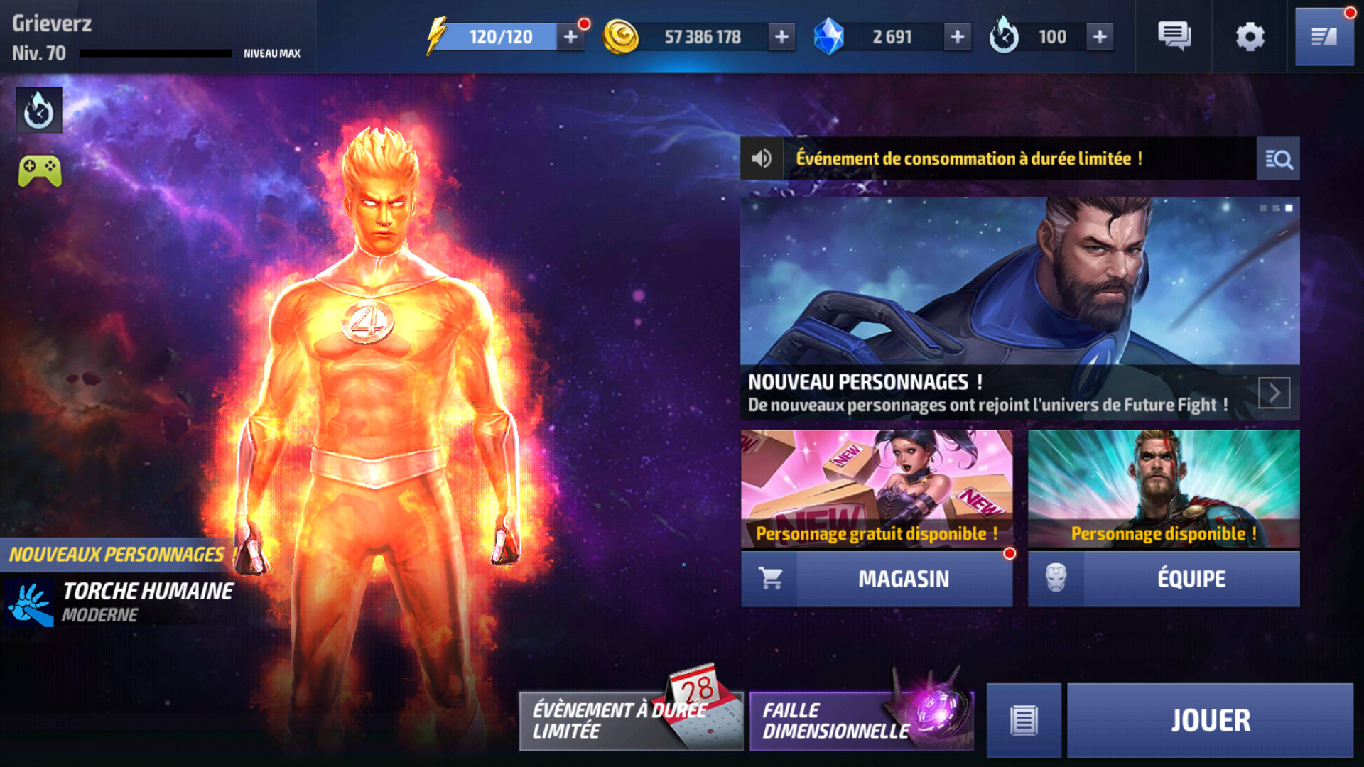 L'écran d'accueil de Marvel Future Fight: les 4 Fantastiques sont dans la plaaaace!:D