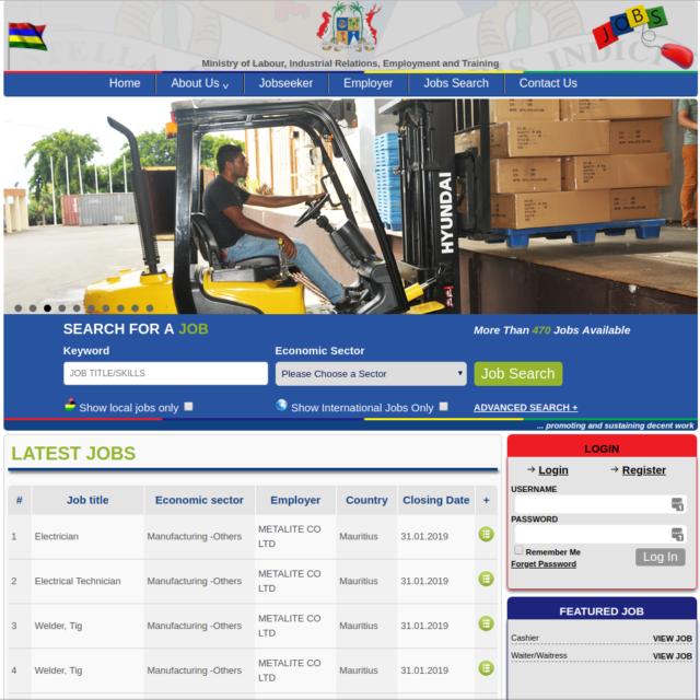 L'interface austère du site web d'offres d'emploi du Ministère du travail mauricien