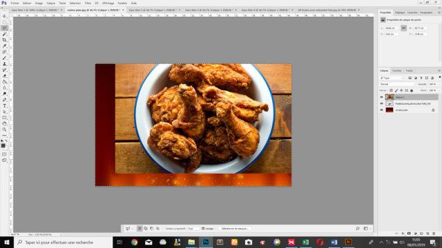 On détoure la cuisse de poulet grâce à l'outil lasso polygonal