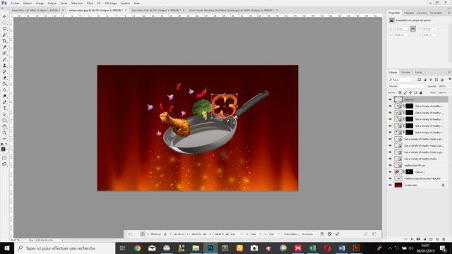 Je redimensionne le poivron rouge grâce à l'outil  «Transformation manuelle»