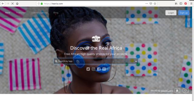 La page d'accueil de Iwaria qui nous invite à découvrir la «Real Africa»:)