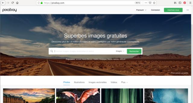 La page d'accueil de Pixabay