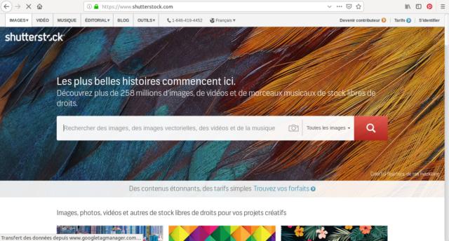 La page d'accueil de Shutterstock