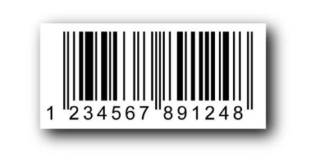 Código de barras 1D clásico (aquí EAN13 con 13 dígitos)