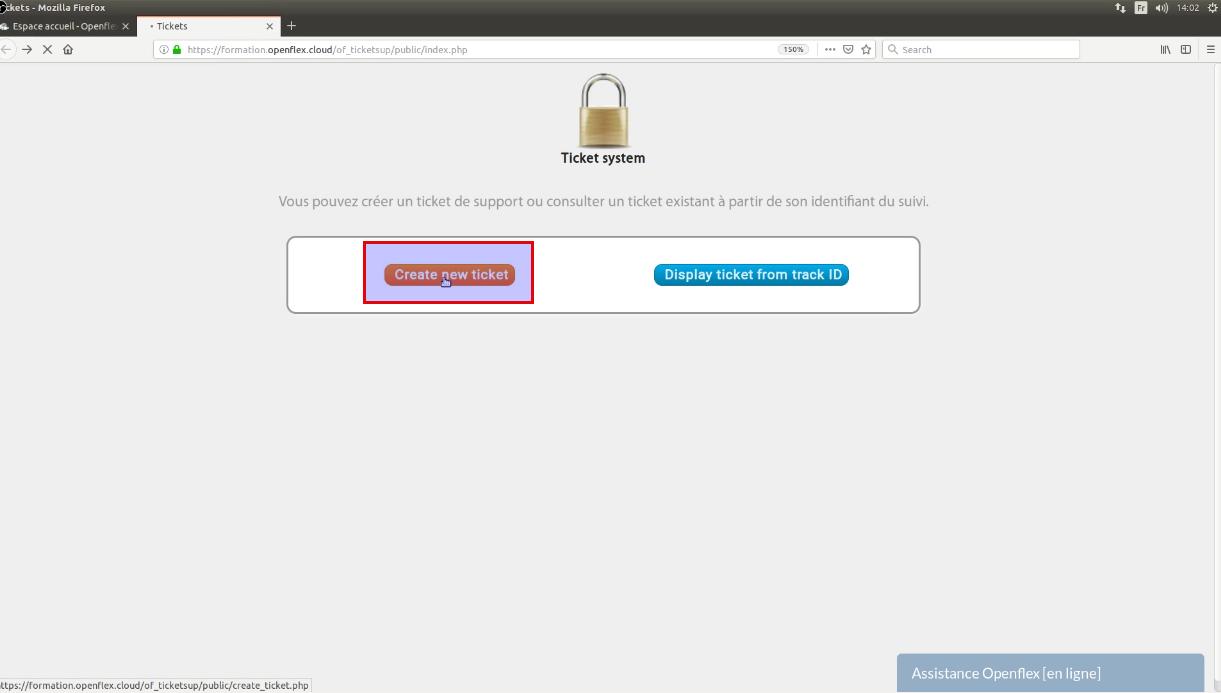 Cliquez ici pour créer un ticket à partir de l'interface publique