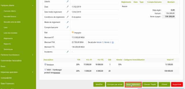 Cliquez sur «saisir règlement» pour enregistrer le paiement du fournisseur