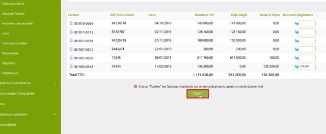 cliquez sur «payer» pour finir d'enregistrer votre facture d'achat sur Openflex