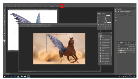 """Photoshop's """"Free Transform"""" command (circled in red)"""