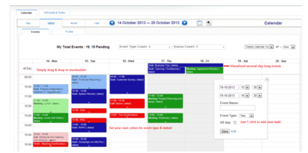 Vista de calendario del software CRM Vtiger