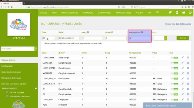 """Sur """"newbymonth"""", sélectionnez le nombre de jours à ajouter au compteur des utilisateurs automatiquement chaque mois"""