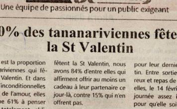 """""""40% des Tananariviennes fêtent la St Valentin"""" - Titre du 14 février 2019 sur Jejoo"""