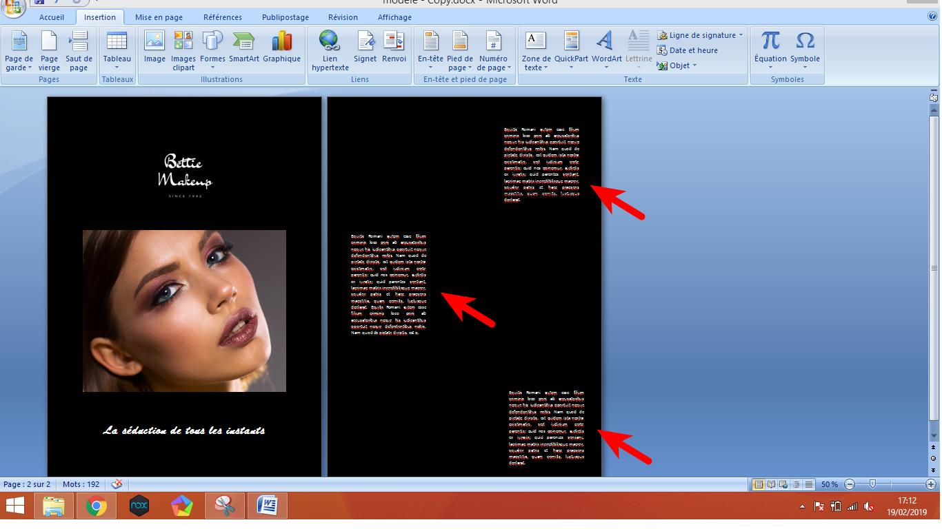 Nous avons rajouté trois blocs de textes à trois endroits différents grâce à l'outil «Zone de texte»