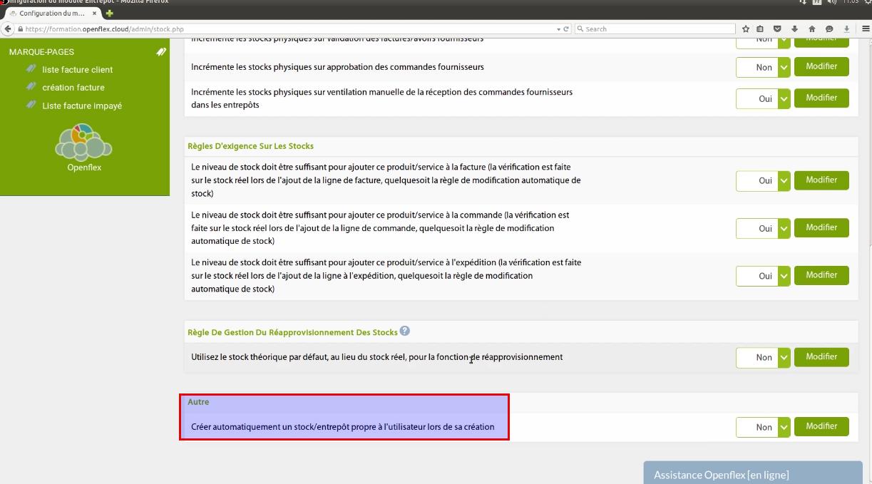 Ici, vous pouvez activer la fonction de création automatique d'entrepôts pour chaque utilisateur lors de sa création