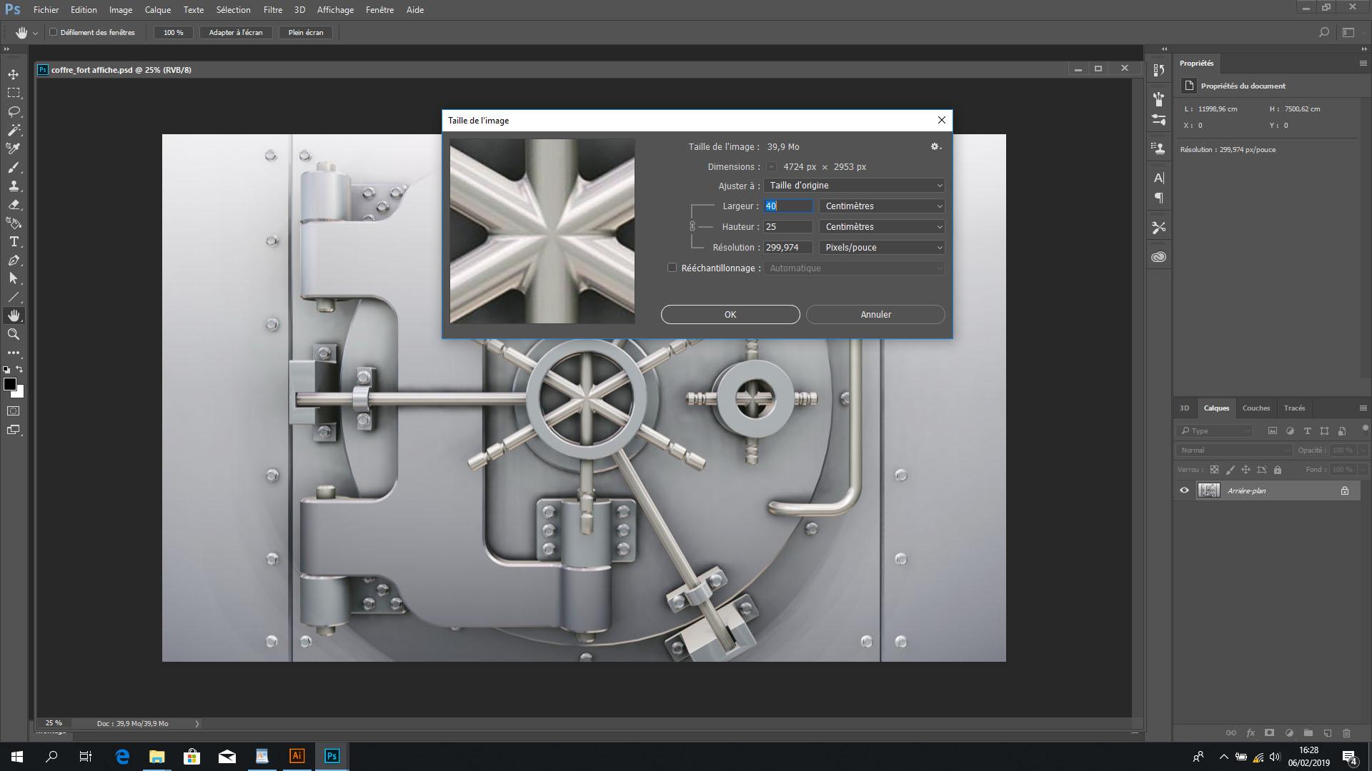 Pour un grand format de 4×3 m, nous allons créer une affiche publicitaire de 40×30 cm sur Photoshop