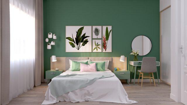 Une chambre à coucher avec une très belle décoration vert, blanc et bois que j'aime beaucoup