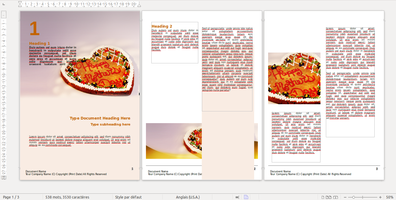 Vous pouvez télécharger l'exemple de plaquette commerciale Word et le modifier à votre guise dans votre éditeur de texte, comme ceci!