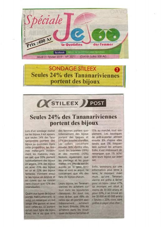 """""""Seules 24% des Tananariviennes portent des bijoux"""" - Titre du 21 février 2019 sur Jejoo"""