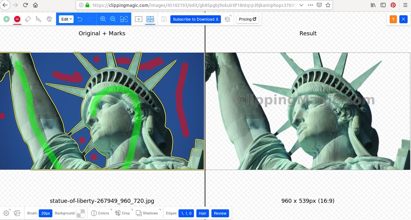 Sur la gauche vous avez l'image d'origine avec les marques, sur la droite l'image finale détourée. Magique