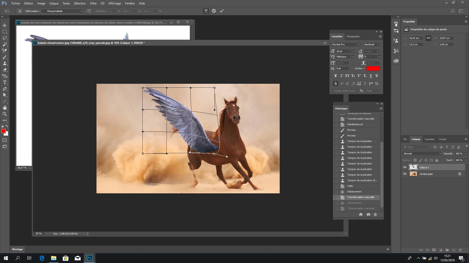 L'aile déformée avec l'outil « transformation libre » se fond mieux dans le décor