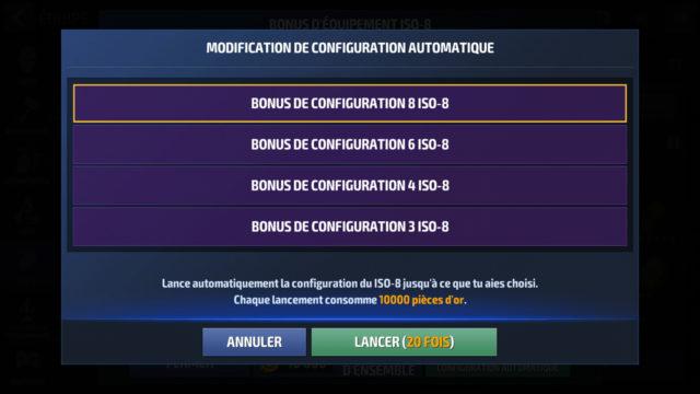 Laissez sur  «Bonus de configuration 8 ISO-8 et cliquez sur  «Lancer 20 fois»