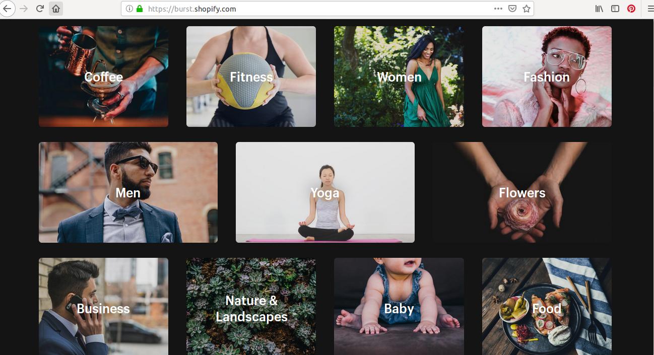 Différentes catégories de photos vues sur Burst