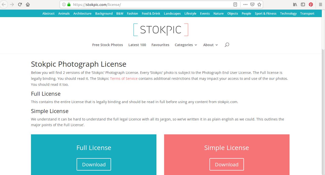 On trouve plus d'une quinzaine de catégories de photos sur Stokpic