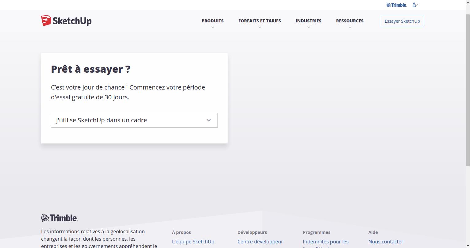 """Voici la page d'accueil Sketchup, cliquez sur """"essayer SketchUp"""""""