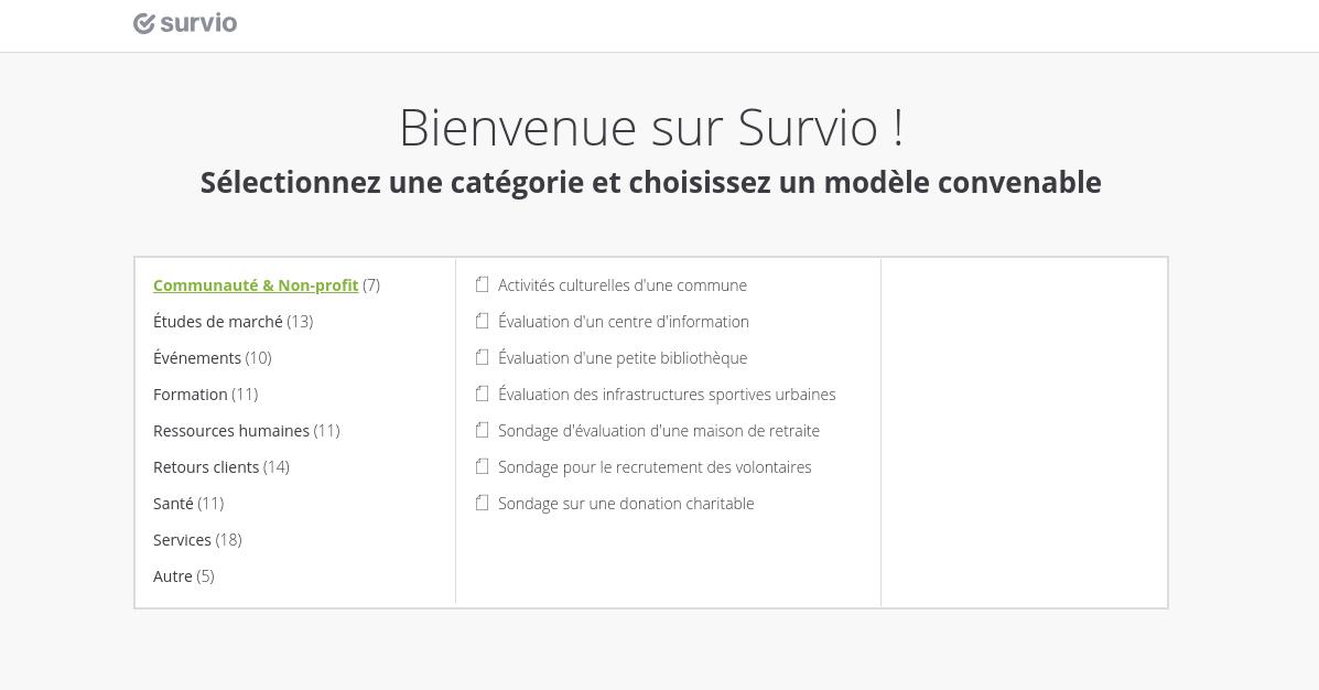 Plus de 100 modèles de sondage prédéfinis et classés par thème vous attendent sur Survio