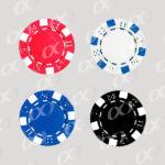 4 jetons: rouge, blanc, noir, bleu