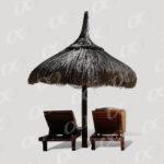 Transats et parasol de vacances
