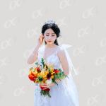 Une mariée avec sa couronne