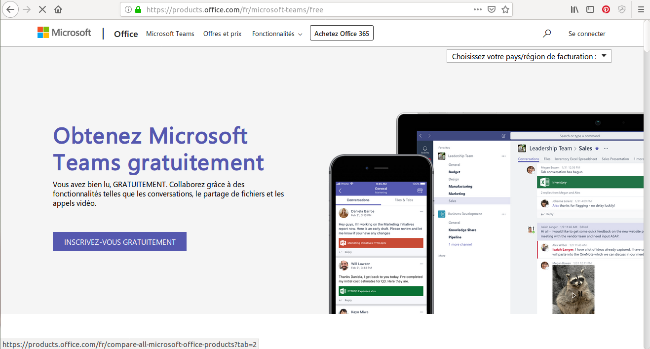 Microsoft Teams est uniquement disponible sur Office 365