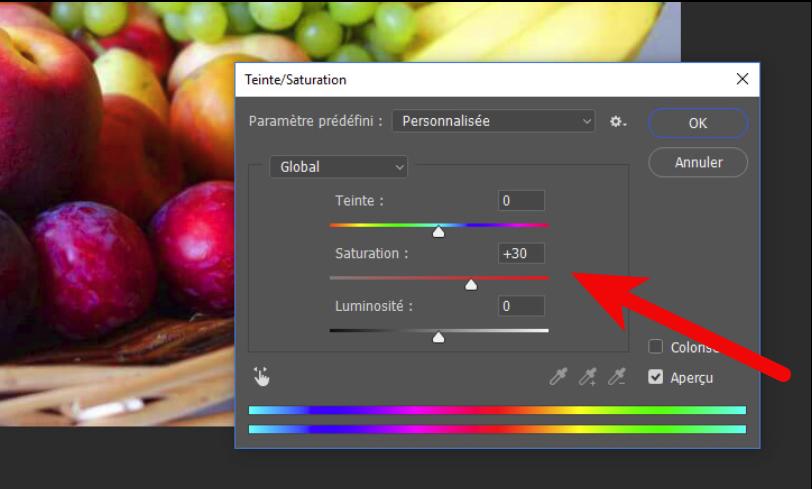 Vous remarquerez que les couleurs changent quand vous déplacez le curseur