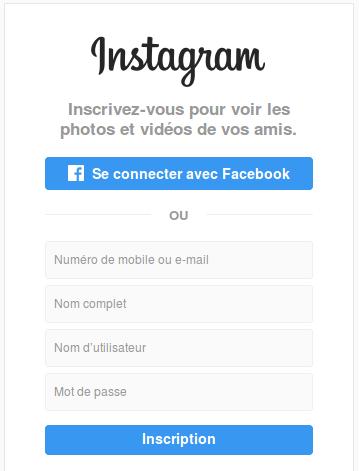 La page de connexion de Instagram
