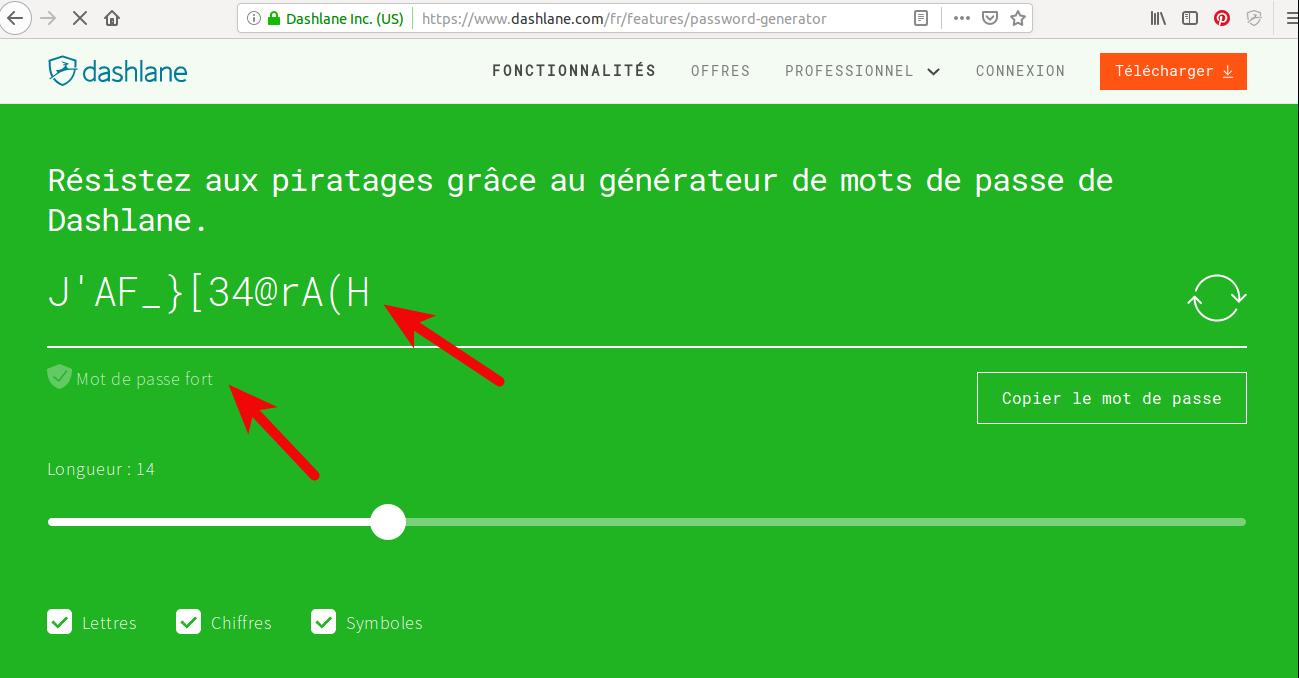Choisissez un code hautement sécurisé grâce au générateur de mot de passe de Dashlane
