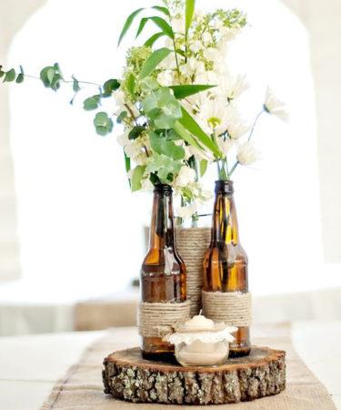 Inspiration mariage, des bouteilles comme centre de table