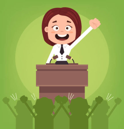 Une politicienne ne devrait-elle pas être plus convaincante dans un discours politique?