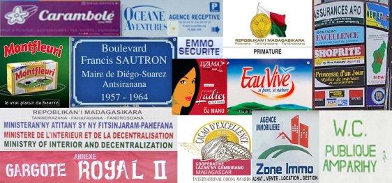 Marque de produits, enseignes, slogan, écritaux etc. bref, tout est en français xD