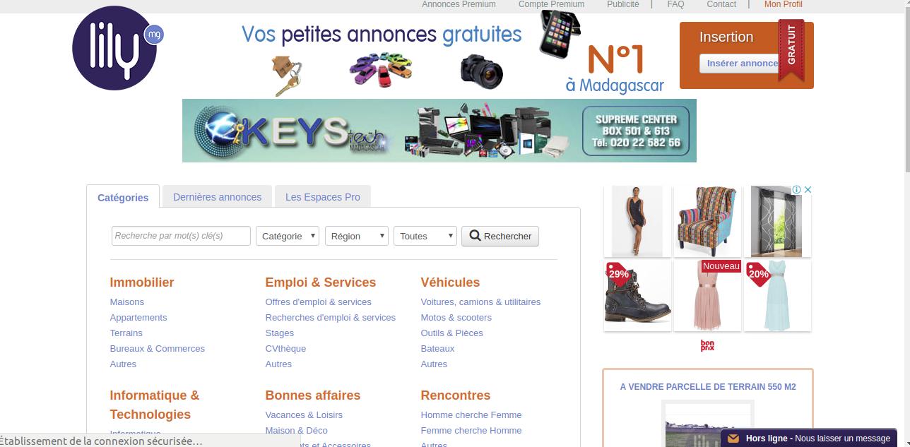 La page d'accueil du site nous montre déjà les différentes catégories d'annonces