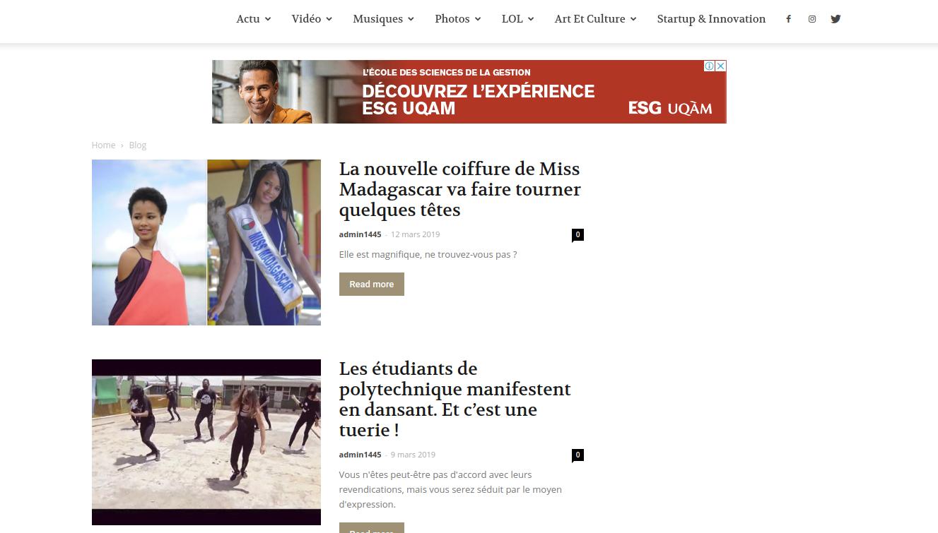 La page d'accueil du Blog de Madagascar