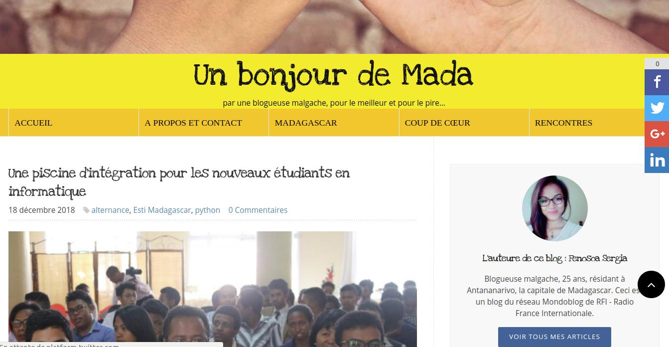 Un bonjour de Mada sur MondoBlog