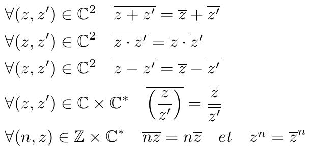Opérations sur les conjugués de nombres complexes