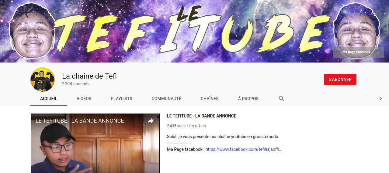 Le Tefitube xD la chaîne Youtube de Tefihaja