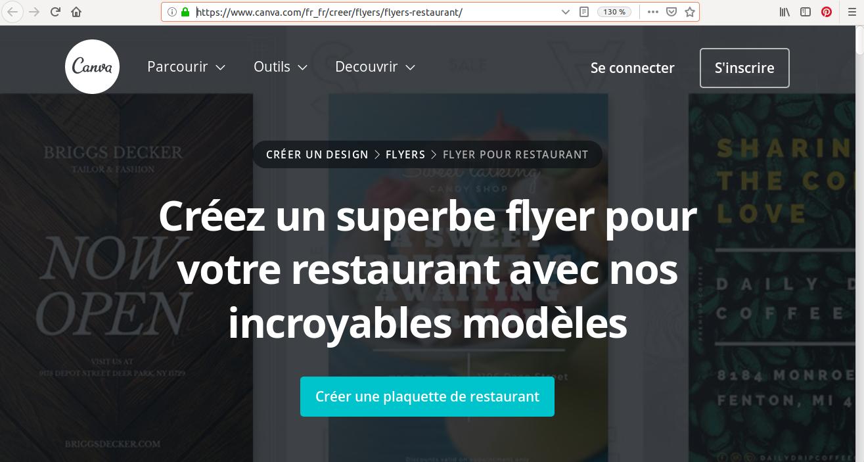 Vous trouverez des templates conçus spécialement pour les restaurants sur Canva