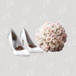 Chaussures et bouquet de mariage