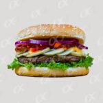 Un hamburger avec oignon