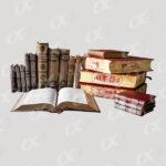 Un livre ouvert et des rangees de livres
