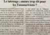 Le tatouage : encore trop tôt pour les Tananariviens ? Titre du journal Jejoo du 18 avril 2019
